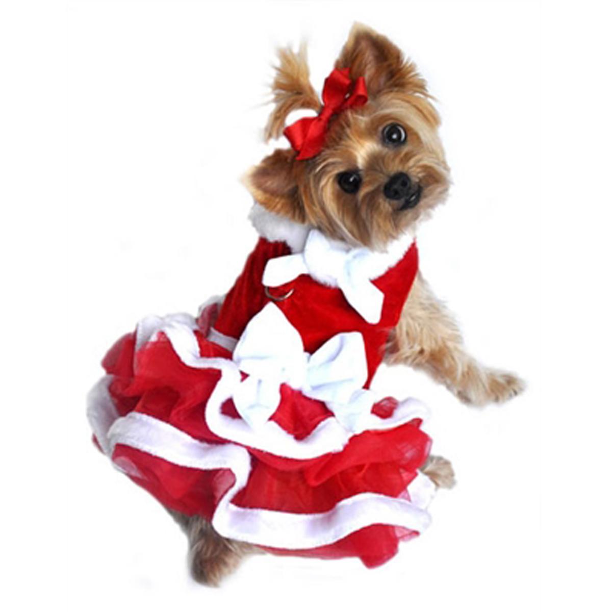 White Christmas Santa Girl Dog Dress