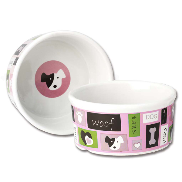 Woof Flair Dog Bowl - Pink