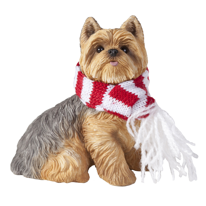 Yorkshire Terrier Christmas Ornament - Red and White Scarf