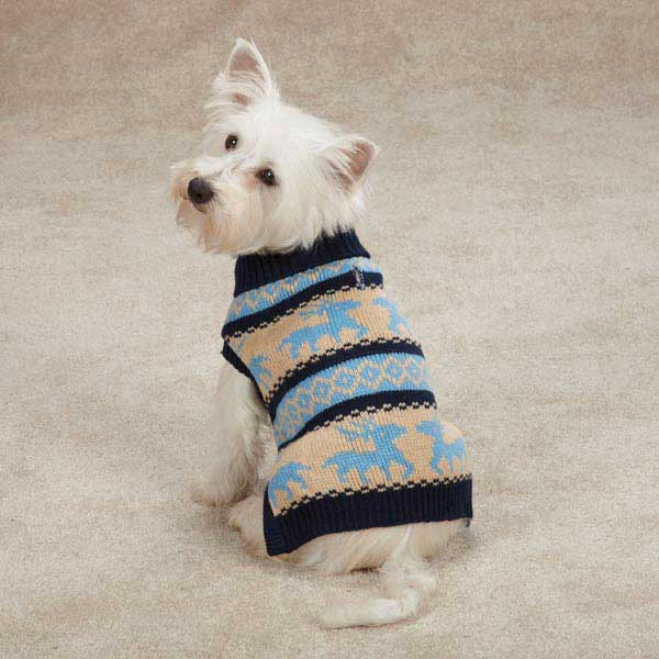 Zack & Zoey Arctic Reindeer Dog Sweater - Navy