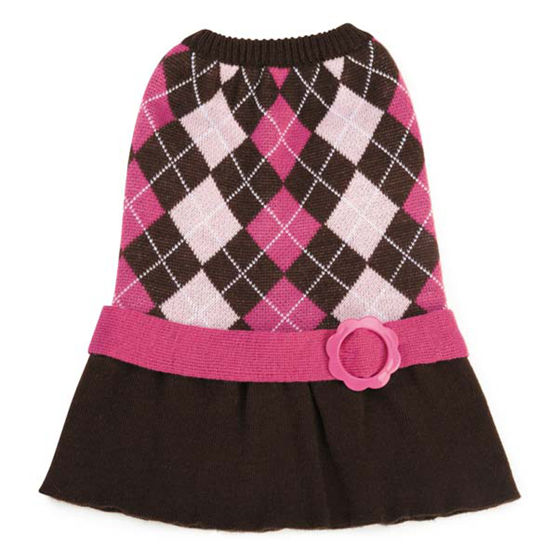 Argyle Prep Sweater Dog Dress - Pink