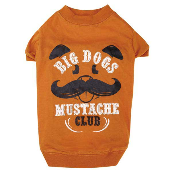 Zack & Zoey Big Dogs Mustache Club Dog T-Shirt - Orange