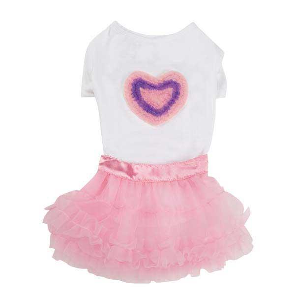 Zack & Zoey Chiffon Hearts Dog T-Shirt and Skirt Set
