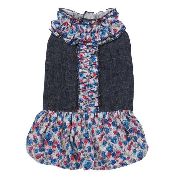 Zack & Zoey Denim Floral Dog Dress