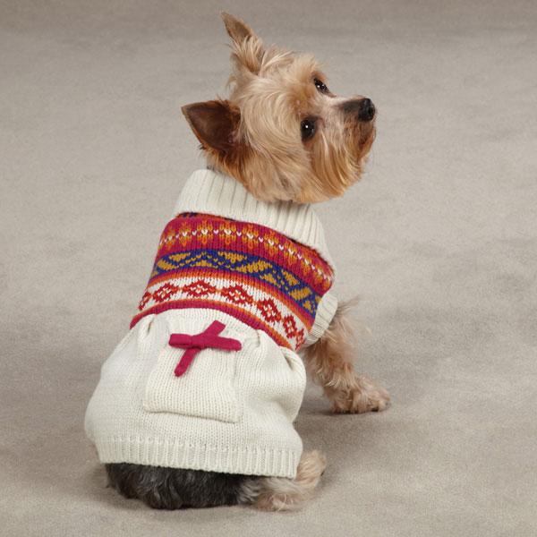 Zack & Zoey Fair Isle Dog Sweater Dress - Creme