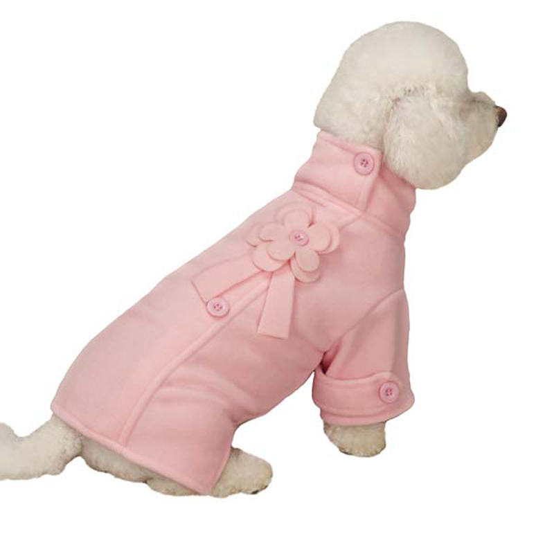 Fleece Flower Dog Jacket - Pink