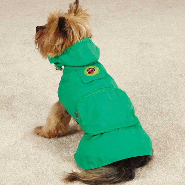 Zack and Zoey Flutter Bugs Stowaway Dog Jacket - Lady Bug Green