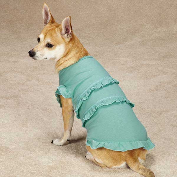 Fresh Water Ruffle Dog Tank - Light Blue