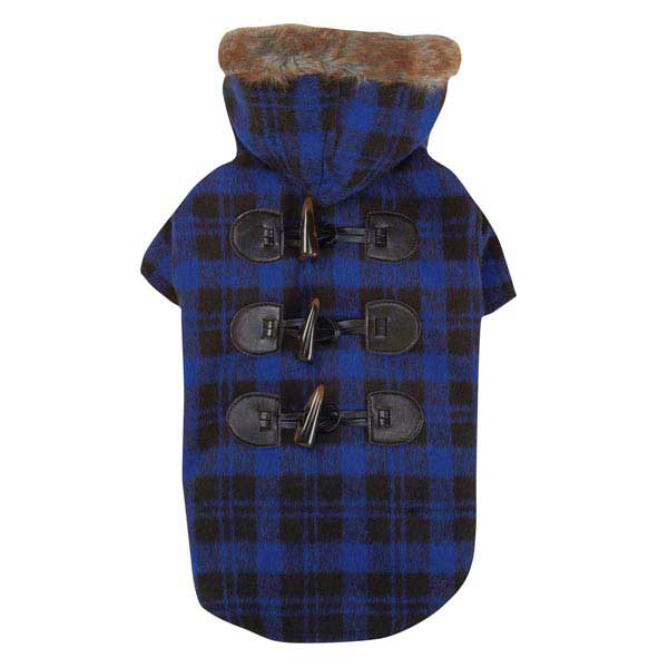 Fur Tipped Toggle Dog Coat - Blue