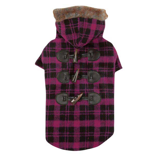 Fur Tipped Toggle Dog Coat - Pink