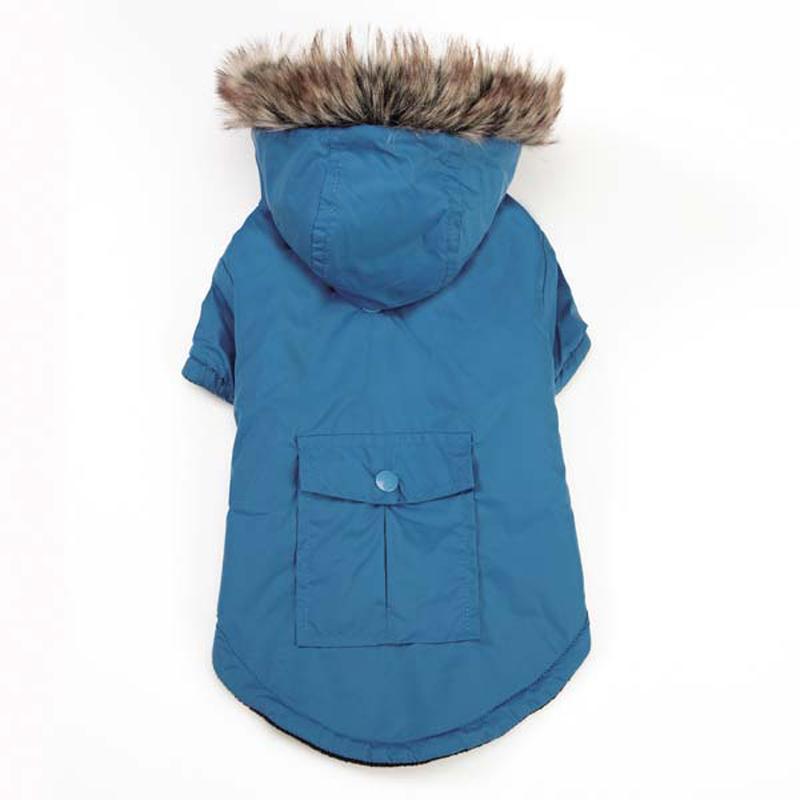 Fur-Trimmed Dog Parka - Blue