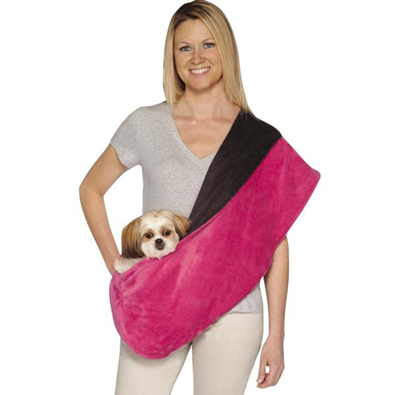 Glacier Plush Reversible Sling Pet Carrier - Raspberry
