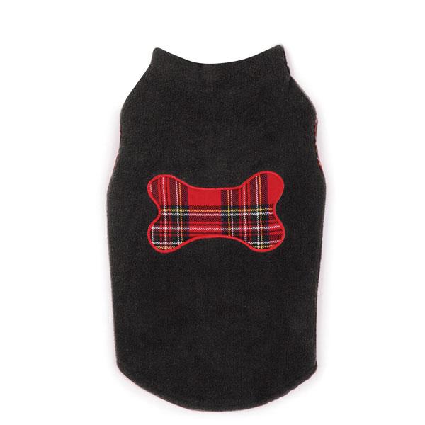 Holiday Tartan Dog Fleece Sweater Vest - Black