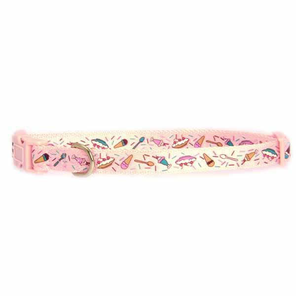 Zack & Zoey Ice Cream Sundae Dog Collar - Pink