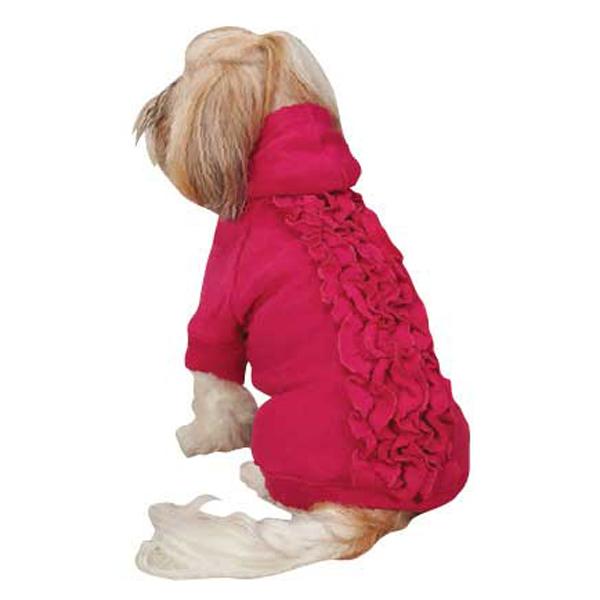 Zack & Zoey Lucy Ruffle Dog Hoodie - Raspberry