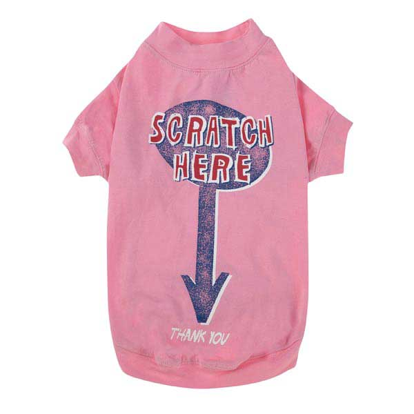 Zack & Zoey Scratch Here Dog T-Shirt - Pink