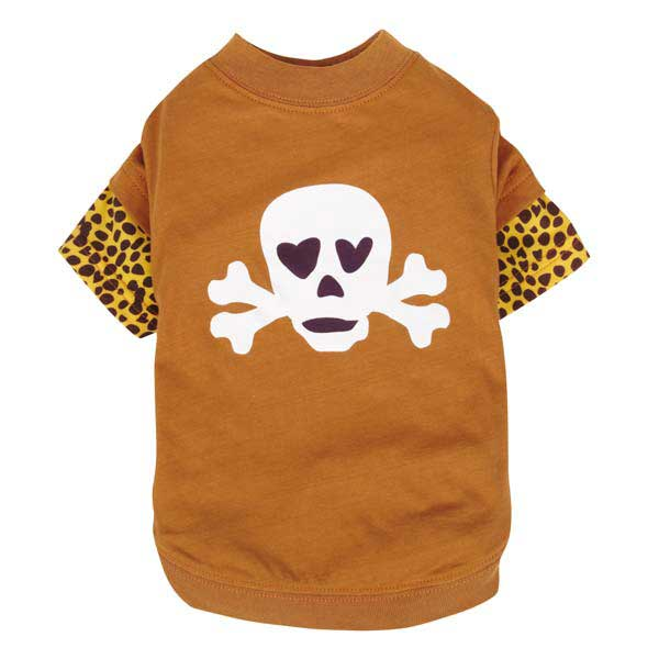 Zack & Zoey Skull-fari Boys Mock Dog T-Shirt - Brown