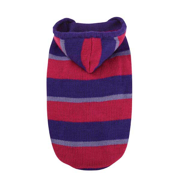 Striped Knit Dog Hoodie - Ultra Violet