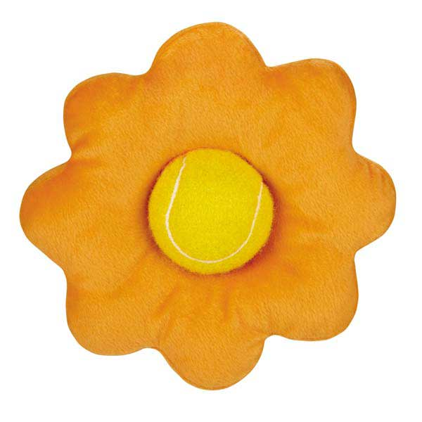 Zanies Blooming Brights Tennis Ball Flower Dog Toy - Orange