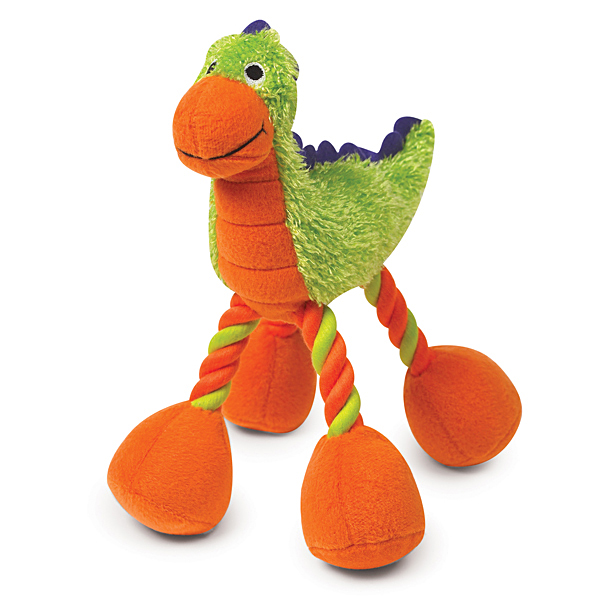 Zanies Dino Babies Plush Dog Toys - Green