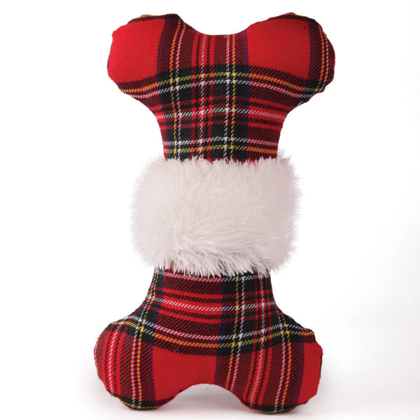 Zanies Snow Cap Tartan Dog Toy - Bone