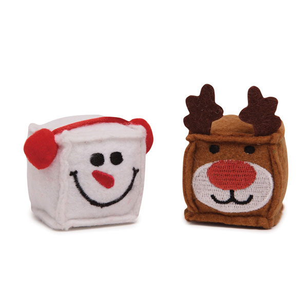 Zanies Snowman and Reindeer Kitty Cubes Cat Toys