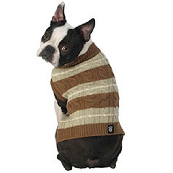 Ziggy's Striped Dog Sweater - Brown/Sage