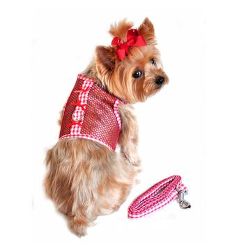 Gingham Cool Mesh Dog Harness by Doggie Design - Red starting at $10.00!