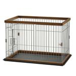 View Image 2 of 2 Way Door Pet Pen with Floor Tray - Brown/Black