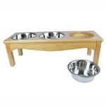 View Image 3 of 3-Bowl Country Style Dog Diner - Honey Pine