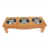 View Image 2 of 3-Bowl Country Style Dog Diner - Honey Pine