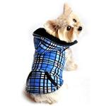 View Image 1 of 4 in 1 Fleece Dog Hoodie and Vest Combination - Blue Plaid