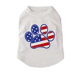 View Image 1 of American Flag Dog Paw Print Tank Top - White