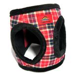 View Image 2 of American River Choke Free Dog Harness - Red Plaid and Black Minky Fur