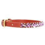 View Image 2 of Amethyst Mini Beads Leather Dog Collar - Red