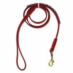 View Image 1 of Amethyst Mini Beads Leather Dog Leash - Red