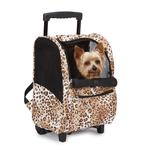View Image 1 of Animal Print Backpack Dog Carrier on Wheels - Cheetah