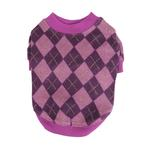 View Image 2 of Argyle Mode Dog Sweatshirt by Puppia - Purple