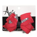 View Image 1 of Aria Red and Zebra Print Dog Bow