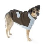 View Image 1 of Attitash Fleece Dog Jacket - Brown & Light Blue