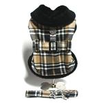 View Image 1 of Brown and Tan with Black Fur Dog Harness Coat