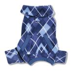 View Image 2 of Blue Argyle Turtleneck Fleece Dog Pajamas by Klippo