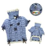View Image 2 of Blue Darling Turtleneck Crocheted Dog Sweater by Klippo