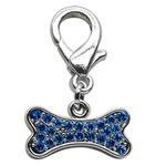 View Image 1 of Bone Shaped Crystal Dog Collar Charm - Blue