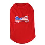 View Image 1 of Bone-Shaped American Flag Dog Tank Top - Red