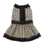 View Image 1 of Brocade Ruffle Dog Dress - Champagne