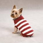 View Image 1 of Cabin Striped Turtleneck Dog Sweater - Red