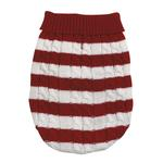 View Image 3 of Cabin Striped Turtleneck Dog Sweater - Red