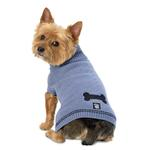 View Image 1 of Cali's Cable Knit Dog Sweater - Stonewash Blue
