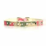 View Image 3 of Camo Diamond & Pyramid Dog Collar - Pink